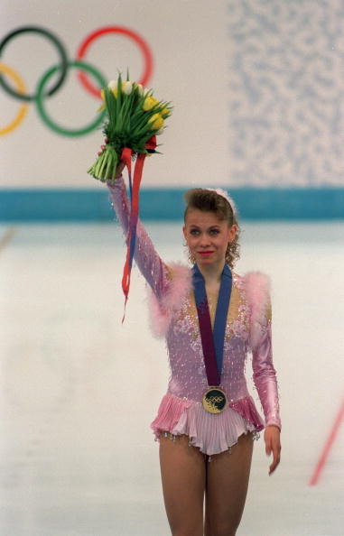 Sport. 1994 Winter Olympic Games. Lillehammer, Norway. Ice Skating. Ladies Figure Skating Singles. The medal ceremony, Oksana Baiul, Ukraine (Gold).