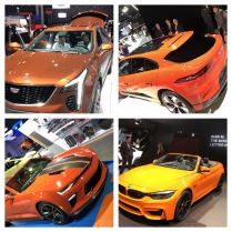 orange is the new.... From upper left clockwise: Cadillac, Jaguar, BMW, Chevrolet